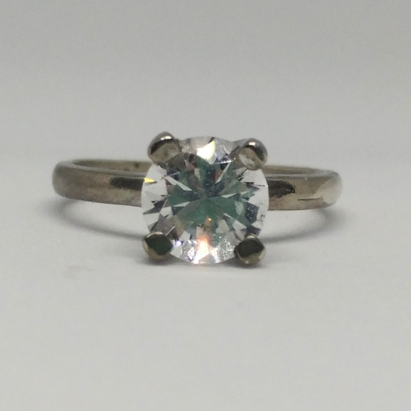 Vintage Jewelry - White Spinel Sterling Solitaire Engagement Ring